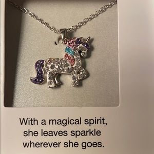 Beautiful Rhinestone Unicorn Necklace